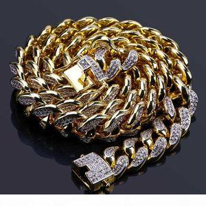 14 millimetri catena cubana placcato oro 18K Uomini Hiphop asfaltata completa Cubic Zirconia gioielli collana Rapper Catene Miami collegamento