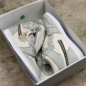 2020 Dior x Air Jordan 1 High OG colaboração aniversário Oficialmente revelado Grey Branca selo francês estilo de moda Kim Jones Sneaker size36-45 sapato