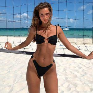 Sp Amp City Sexy Beach Bikini Set Solid Неон ремень Купальник Женщина кольцо G Шнура Micro Купальник 2 шт Высокая талия Лето