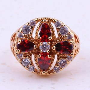 Creative Red Garnet & Cubic Zirconia Yellow Gold Color For Women Bridal Engagement Rings Cheap Fashion Jewelry I0155