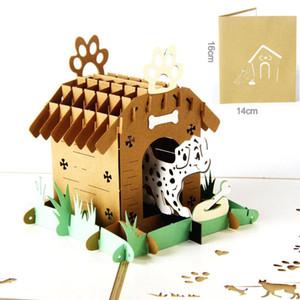 3D creativas tarjetas postales huecos hechos a mano del corte del laser para arriba de cumpleaños del perro animal del animal doméstico tarjetas de felicitación con sobres