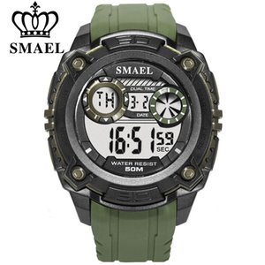 SMAEL Мужская спортивная Повседневный Watchs Водонепроницаемый Back Light светодиодные цифровые часы хронограф Shock 50M Водонепроницаемый Повседневный Электроника Наручные часы