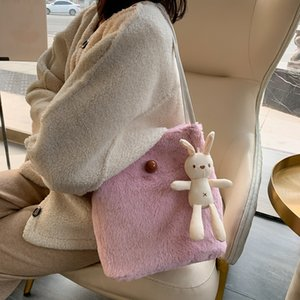Lazy wind soft girl Hand small Wool cute plush doll small ins fashionable solid color tote wool bag shoulder bag female
