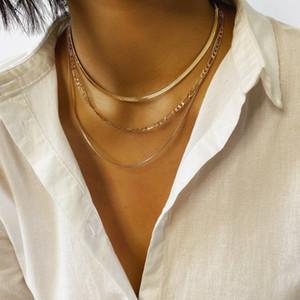 Goldfarbe Halskette für Frauen 2020 Multi-Layer-Clavicleweinlesehalskette Halskette Schlangenkette Edelstahl Halsband Vintage-Schmuck