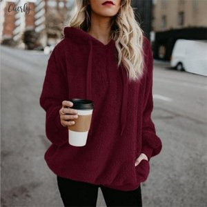 Flannel New Jumper Hooded Sweater Women Solid Color Plus Velvet Warm Womens Coat Russian Hot 9 Colors Pullovers Mujer