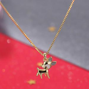 Moq1piece Ms925 стерлингового серебра Олень ожерелье Женский Симпатичные маленькие Elk Short Box цепи ключицы цепи Рождественский подарок