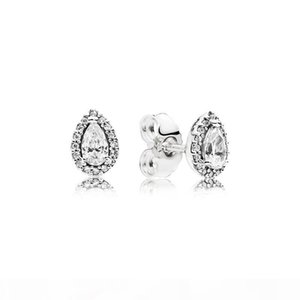I Authentic 925 Silver Teardrop Ring And Earring Sets Original Box For Pandora Cz Diamond Women Wedding Jewelry Tear Drop Ring Stud Ear