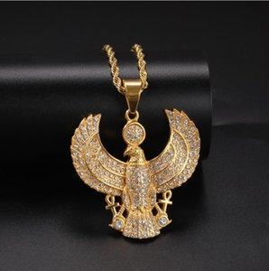 fashion Egypt eagle necklace hiphop cz pendant neckalces for men 316L stainless steel chains