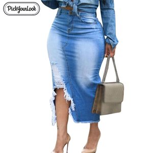 Pickyourlook Plus Size Denim Skirt for Women High Waist Ripped Hole Maxi Skirt Women Vintage Bodycon Jeans Lady Skirt Streetwear T200712