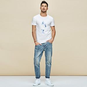KUEGOU Cotton Men's T-shirt Summer fashion tshirt printed Elastic blue red t shirt short sleeves men top LT-1778 MX200611