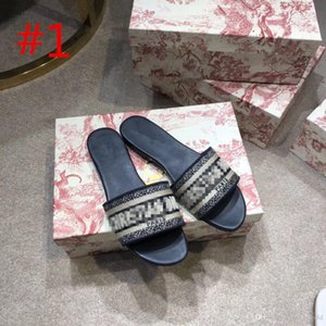 MULTICOLOR DWAY MULE IN EMBROIDERED COTTON SLIDE Designer Women Flat Sandals Fashion Womens Slipper Women Slides Top Quality Sandals