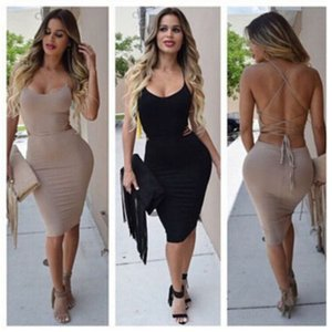 Fashion Women's Sexy Spaghetti Strap Sleeveless Dress Backless Bodycon Midi Dress Ladies Casual Evening Party Club Wear Summer