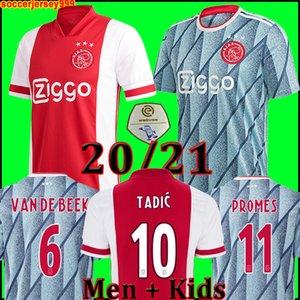 (20 개) (21) 아약스 FC 축구 유니폼 2020 2021 PROMES 타 디치 NERES ZIYECH VAN 크는 남성 + 아이 키트 축구 셔츠 유니폼 멀리 타이츠