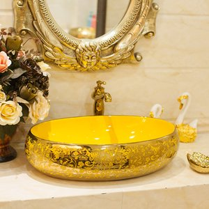 Ceramica Sopra il contro bacino ovale Bagno Lavello Bagno Art Basin Gold Lavandino Lavare a mano bacini Vessel Sink con rubinetto della cucina