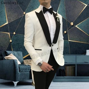 Bridalaffair New Fashion Men White Suits Peaked Lapel Custom Made Wedding Tuxedos Slim Fit Male Suits (Jacket + Pants)