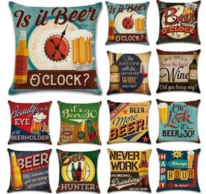 NEW Holiday Beer Bottle Pillow Case British Style Retro Pillow Cover Single-sided Print 45*45cm Pillow Cover Home Bar Decoration DHl free