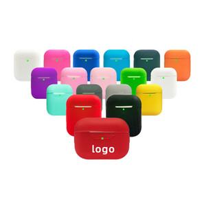 18 الألوان LOGO العرف غطاء TPU رقيقة جدا لينة سيليكون حالة أبل Airpods لAirpods الموالية حالات TWS سماعة الأذن اللاسلكية وسائد هوائية
