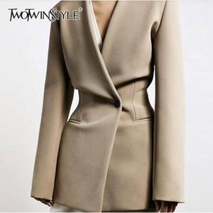 TwoTwinstyle Casual minimalistische Stil Frauen Blazer V-Ausschnitt Langarm High Wiast Tunika Slim Anzug für weibliche Mode 2020 Kleidung RP81 #