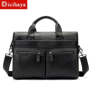 DICIHAYA Business Men's Briefcases Genuine Leather Messenger Bags Male Laptop Tote Leather Briefcase Office Bags for Men Travel