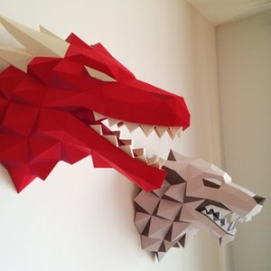 Game of Thrones 3D Paper Puzzles Red Dragon Head House Targaryen Stark Models Adult Gift Kids Wall Decorations Home Decor Toys MX200414
