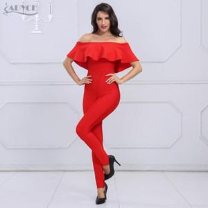 Adyce 2020 New Fashion Autumn women Rompers Bodysuit Slash Neck Ruffles Full Length Celebrity party Bandage Jumpsuit wholesale