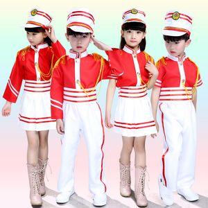 Uniforme bambini Drum costume della squadra della scuola dei bambini Stage Performance Majorette Bambino costume Top + Skirt / Pants + Hat 18