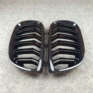 3 Serisi E92 2006-2009 Araç Şekillendirme ABS Karbon Look Böbrek Mesh Grille için 1 çift 2-Menteşeli Parlak siyah Oto Araç Grille