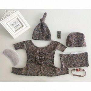 1set bébé extensible Wrap Top Knot Chapeau Bandeau du nouveau-né Photographie Props bébé Tenues Tir Costume douche cadeau EPTP #