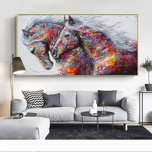 Animal Art Dois Cavalos Running lona pintura de parede Art Pictures para sala de estar Abstrato Impressões Modern Art Posters No Frame