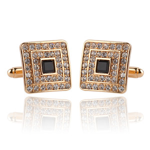 Men's Cuff Links For Shirts Luxury Rhinestone Crystal Business Square Cufflinks For Women Wedding Party Gift Decorations