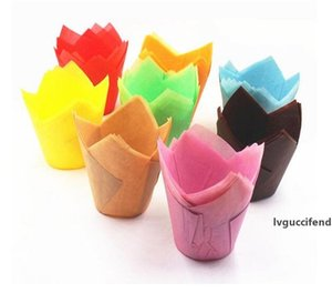 200 pcs pack Paper Cake Decoration Tool Mold Tulip Flower Chocolate Cupcake Wrapper Baking Muffin Paper Liner Disposable