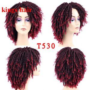 6 Inch Ombre Burgundy sintético macio Dreadlock Crochet peruca de cabelo da Mulher Negra Synthetic Fiber Wig Suave Locs Crochet Cabelo Curto Perucas