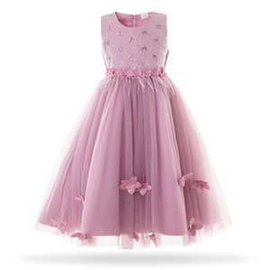 Cielarko Children Long Princess Dress 2019 New Kid Girls Wedding Birthday Formal Party Frock Ball Gown Purple White 2-11 Years T200709