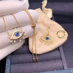 High Quality Yellow Gold Plated CZ Star Eyes Earrings Necklace for Girls Women for Party Wedding Nice Gift
