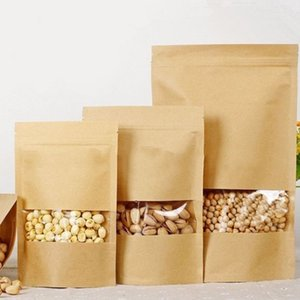 Sturdy 50 Pcs Candy Bag Seal Pocket Self-Sealed Transparent Package Bags Scrub Durable with Window Kraft Paper