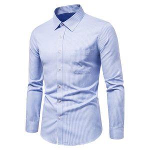 Erkekler Casual Slim Fit Ekose Sosyal Uzun Kollu Giyim İş Marka Elbise Erkek Gömlekler Klasik Düğme Tops için SZMXSS Gömlek