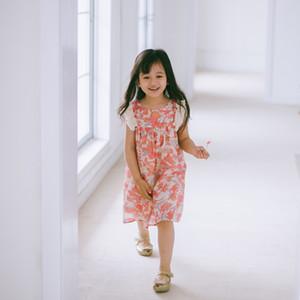 INS Girls tassel falbala fly sleeve dress 2020 new kids gold flowers printed dress high quality children cotton linen princess dress A3499