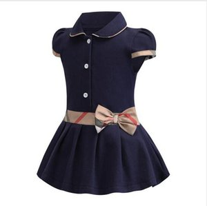 Ratail Baby Girls Dress Bambini risvolto college wind bowknot manica corta pieghettata polo gonna bambini casual designer abbigliamento abbigliamento abbigliamento