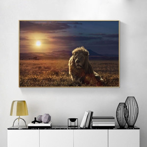 African Landscape Lion Canvas Painting Scandinavian Wildlife Animal Sunset Posters Prints Wall Art Picture for Living Room Decor Cuadros