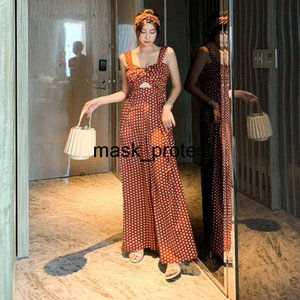 2020 Summer wave point fashion ins Net red blogger style jumpsuit holiday wide leg pants women's high waist 1885
