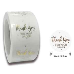 Obrigado etiquetas Seal Etiquetas Scrapbook Handmade Etiqueta Círculo Stationery Feito à Mão Deco para rolo presente Envelope 500pcs