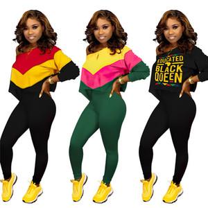 Осенние женские футболки две части набор с длинным рукавом футболки урожай + брюки леггинсы гусеницы дизайнерские наряды с плеча спортивная одежда костюм S-2x