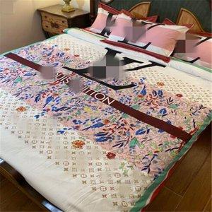 Designer 4pcs Cotton Letter Printed Duvet Cover Bed Sheet Fitted Sheet Set Queen Size Bedding Set