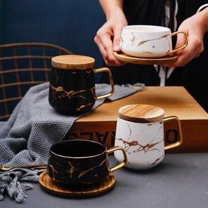 Plain White Large Set tasse à café en céramique d'impression grand couple Tasse de Noël Marbre De Ceramica Tazas Tasse réutilisable porcelaine KK60MK T200506