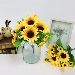Simulation Sunflower Bouquet Artificial Silk Fake Flowers For Home Office Tabletop Decor Wedding Decorations