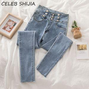Woman Jean light blue 2020 New autumn high waist single-breasted denim pencil pants woman mon high elastic jeans ladies