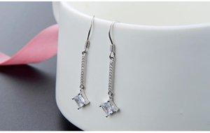 Valentine's day gifts top quality women's S925 sterling silver cubic zirconia earrings silver CZ drop earrings CZ earring drops DD