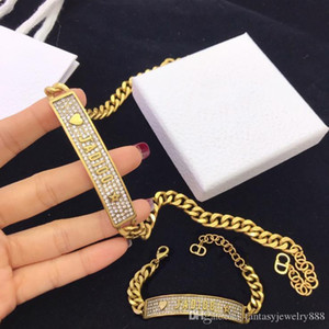 Vintage alphabet necklace female brass diamond chain personality necklace designer jewelry designer jewelry women necklace