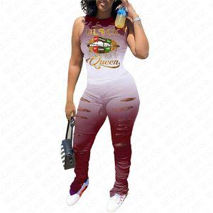 Femmes Lèvres Survêtement Designer manches Débardeur T-shirts T-shirt Ripple Holes Pantalons deux pièces Tenues Sportwear gradient L-4XL D71609