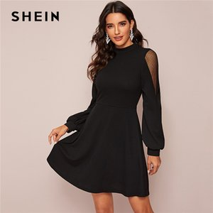 SHEIN Black Solid Stand Collar Swiss Dot Mesh Insert Elegant Dress Women Spring High Waist Zip Back A Line Flared Short Dresses